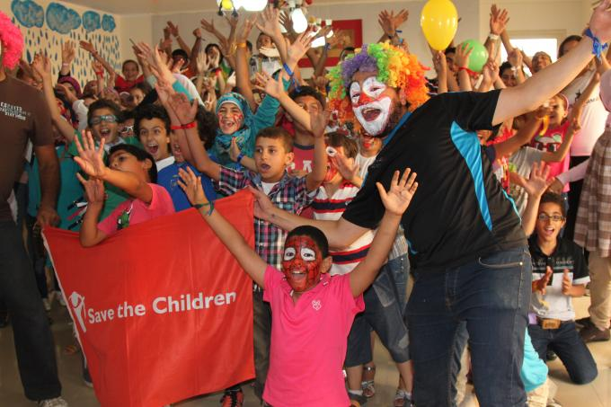 Syrian and Egyptian children celebrate the end of day two of a five day workshop on coexistence