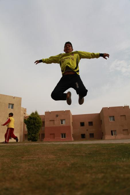 14 year old Adham, one of Egypt's Street Child World Cup players, full of energy at a shelter run by one of Save the Children's local partners in Greater Cairo. Photo by Ismail Hamdy / Save the Children